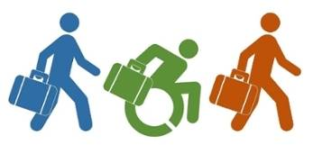 Image of employees walking, one of which is accelerating in a wheelchair with a briefcase